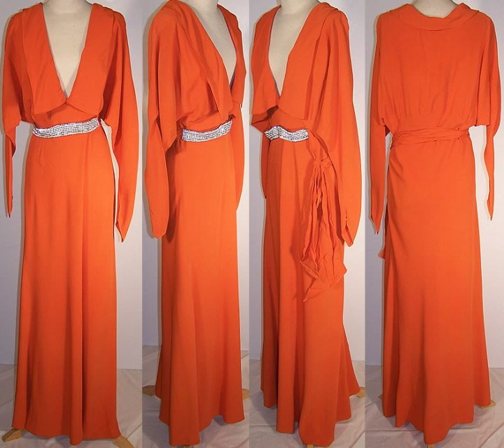 1930s-orange-silk-crepe-floor-length-dress