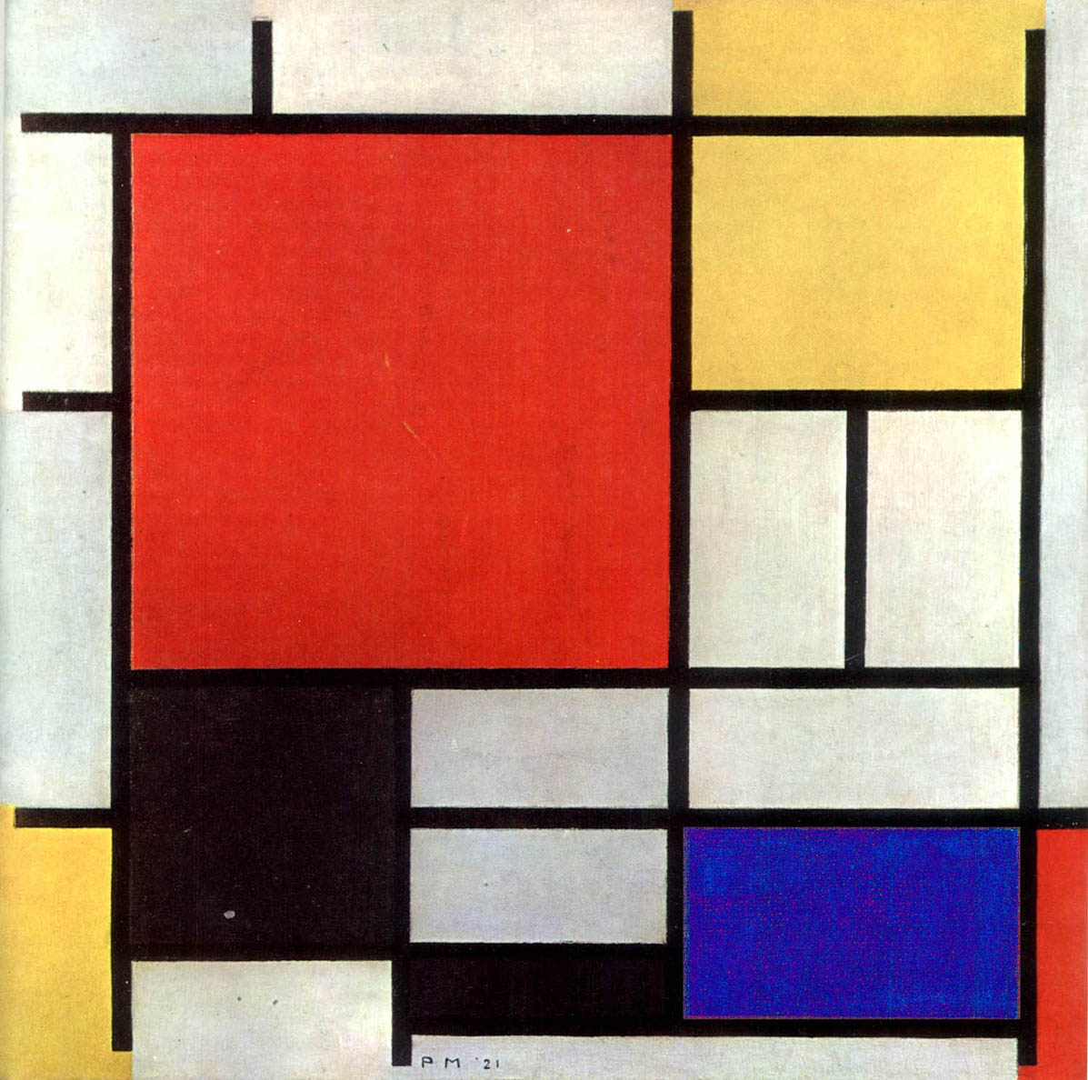 Piet Mondrian on What Fraction Of Shape Is Colored